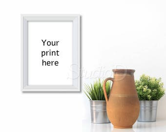 White frame mockup, A4 portrait print mockup, Styled frame display mockup, Art print display, Mock-up frame, Blank frame mockup, MAP002