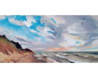 "Michigan Beach 6""x12"" original oil painting"