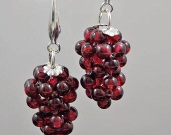 Garnet Bead Grape Cluster Dangles - Sterling