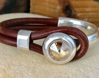 Amber Swarovski and brown leather bracelet