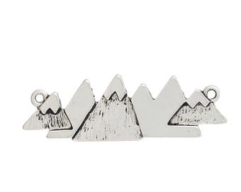 2 Mountain Connector Charms Mountain Range Connector Bracelet or Necklace Connector Travel Charm Etched Mountain Charm 4162