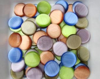 Lot 50 cabochons CatEye glass, blue, green, orange, blonde, Purple 12mm