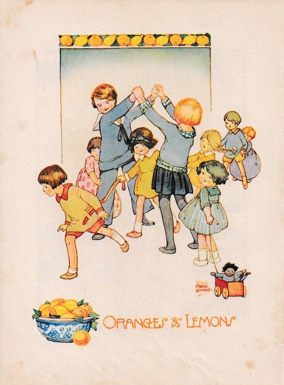 """Children's book illustration by H.G.C. Marsh Lambert, """"Oranges & Lemons"""", published 1950s, book print"""