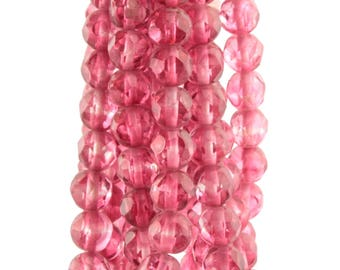 Hank (175) 6.5mm vintage Czech Bohemian crambery pink round faceted glass beads 0102-56
