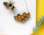 Laser Cut Geometric Yellow Honeycomb Necklace