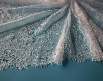 "Floral dress lace ,eyelash Lace Fabric sell by yard ,off  White Chantilly Lace fabric  for wedding 59"" width-7025"