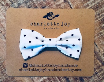 The Landon Bow Tie in Black Dot - Baby Bow Tie - Toddler Bow Tie - Boys Bow Tie - Clip on Bow Tie