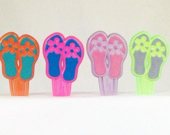 12 Flip Flops Hawaiian Sandals Cupcake Picks Toppers Party Favors