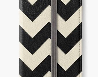 Folio Wallet Case for iPhone 8 Plus, iPhone 8, iPhone 7, iPhone 6 Plus, iPhone SE, iPhone 6, iPhone 5s -  Black and White Chevron