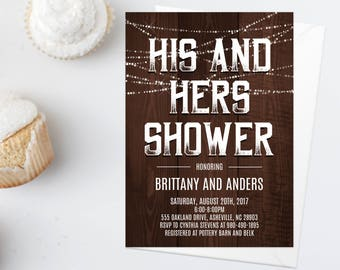 His and Hers Wedding Shower Invitation, Printable Couples Shower Invitation, Engagement Party, I Do Barbecue, Rustic Wood Cookout WDFL