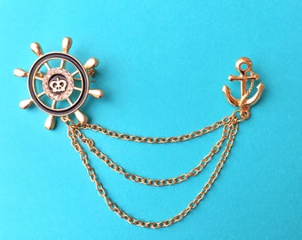 "Fun in the Sun Collection ""Sail Away"" Nautical Themed Collar or Sweater Guards - Anchor and Ship Wheel - With Gold Chain"