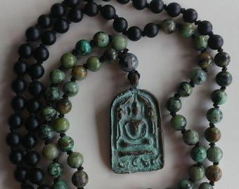 Buddha Mala Necklace Black Agate Mala Turquoise Mala Necklace 108 mala beads  knotted prayer beads 108 mala necklace meditation beads