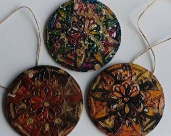 "Christmas Holiday Mandala Ornament Disc handmade 4"" circle ornament Mandala art Mandala"