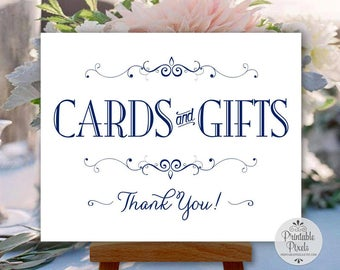 Cards and Gifts Printable Wedding Sign, Navy Blue Text, Party (#CR12N)