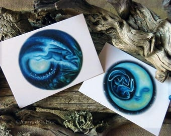 Set of two postcards A6 - Hare and Moon