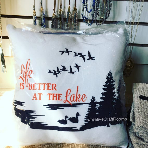 Lake pillow, Life is Better at the Lake Microfleece Pillow, Canvas pillow, Cabin pillow, Lake House Pillow, Cottage Decor, Hostess gift