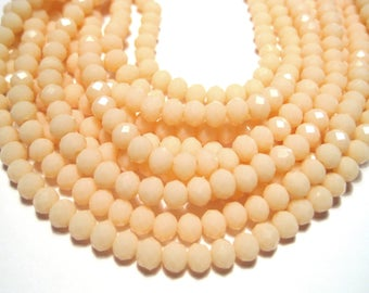 1 Strand Peach Color Faceted Rondelle Glass Beads 4x3mm ( No.23)