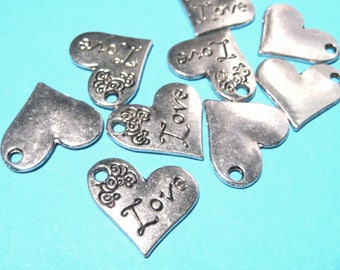 10pcs Antique Silver Heart Charms Pendants