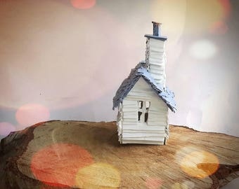 Little Grey House - Small Recycled Cardboard Model Sculpture Decoration Gift - Painted Miniature Small House - READY TO SHIP