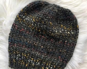 Handmade Knit Chunky Hat, Knit Pom Pom Hat, Ready to Ship, Multicolor Knit Hat