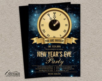 New Year's Eve Party Invitation | Printable NYE Countdown Invitation | Personalized Five To Twelve End Of Year Clock Invite In Gold And Blue