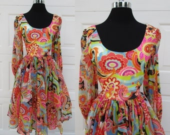 Psychedelic Print Sheer Sleeve and Skirt Dress Romantica by Victor Costa Scoop Neck Sheer Sleeves and Skirt Sz M/L