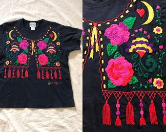 Vintage EMBROIDERED Knit Top 90s Women M Medium Black ROSE MOON Blouse Floral Short Sleeve Cotton Shirt Mexican Boho Hippie Swan Magic