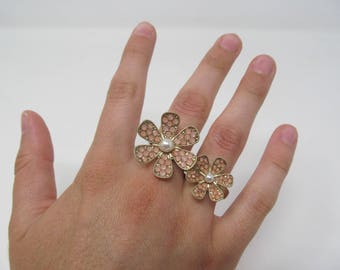 Pink and Pearl Flower Double Ring - Beautiful!