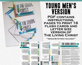 The Living Christ Flash Cards- Young men printable digital file in PDF