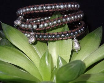 Silver Wrap bracelet with small beads