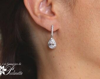Boucles d'oreilles mariage gouttes, boucles d'oreilles strass, clous d'oreilles bijoux mariage cristal, boucles d'oreilles mariées zircons