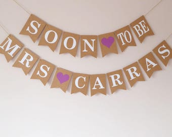 Bridal shower, Hen do, Bachelorette party decorations, Soon to be Mrs surname bunting