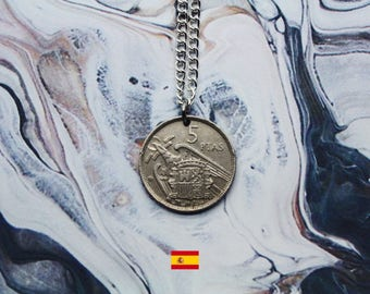 Spanish 5 Pesetas Handmade Silver Coin Necklace - Silver Plated Chain.