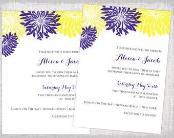 Wedding invitations template Yellow   Regency Purple DIY wedding invitations   Flower Burst  Gerber printableWedding Invitation Templates Printable by diyweddingsprintable. Regency Wedding Invitations. Home Design Ideas