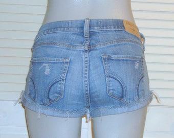 Hollister Social Stretch Denim Distressed Frayed Low Rise Cut Off Shorts~5~
