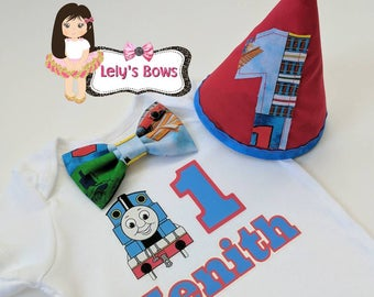 Thomas the train first birthday outfit, first birthday boy outfit, Birthday boy Outfit, Thomas the train personalized shirt, Thomas set