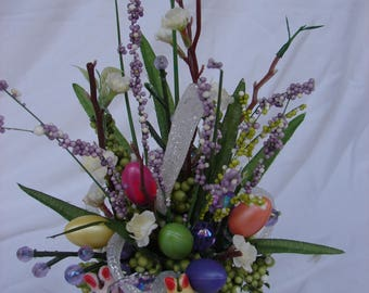 Miniature Handmade Easter Floral Arrangement Gift Home Decor