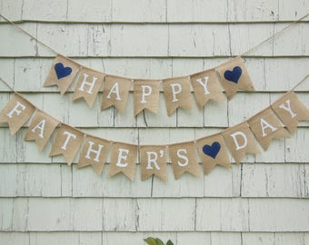 Happy Fathers Day Banner, Fathers Day Decoration, Fathers Day Banner, Fathers Day Bunting, Fathers Day Burlap Garland, First Fathers Day