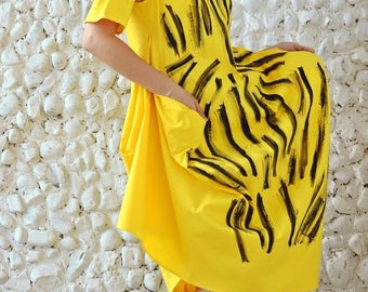 ON SALE Yellow Funky Dress TDK193,  Extravagant Summer Dress, Asymmetrical Funky Dress with Handmade Painted Design