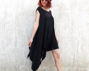 SALE 25% OFF Black Asymmetrical Dress Tunic / Plus Size Loose Tunic / Black Dress Tunic / Oversize Dress Tunic TDK45