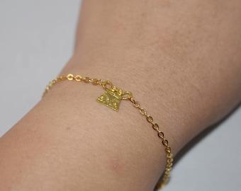 Tiny Soul Lock Bracelet in Gold color