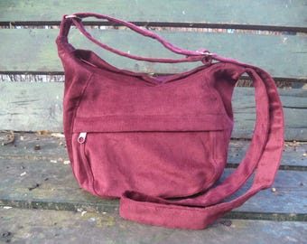 Claret corduroy shoulder bag,zippered bag