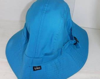 Vintage 1980s Totes Womens Ladies Cyan Blue Summer Bucket Hat