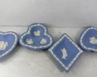 Vintage 1950s Wedgewood Blue Jasperware, set of 4 playing card ashtrays