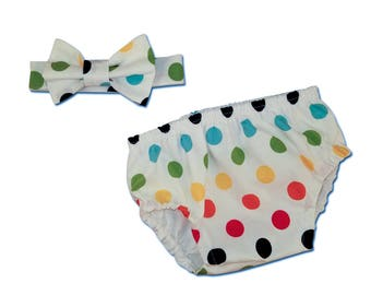 Baby Boy's Primary Color Dots Cake Smash Set with Diaper Cover and Bow Tie