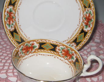 ANTIQUE COURT CHINA Bone China Cup and Saucer, William Lowe, Ca.1912.  Made in England
