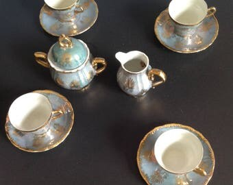 Vintage Seafoam Green Gold Embossed Lustreware Japanese Demitasse set