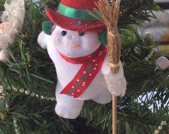 Vintage Flocked Snowman  Christmas Tree Ornament
