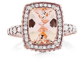 Morganite Engagement Ring 8x10mm Morganite & Natural Diamonds Mill Grain Butterfly Design Art Deco Style 18k Rose Gold Pristine Custom Ring