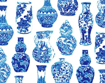 INSTANT DOWNLOAD - Chinoiserie Blue and White Ginger Jar / Vase pattern
